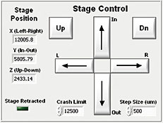 Stage control in PV Acquire software